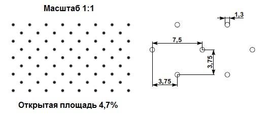 Схема перфорации Sonora Tener perforated